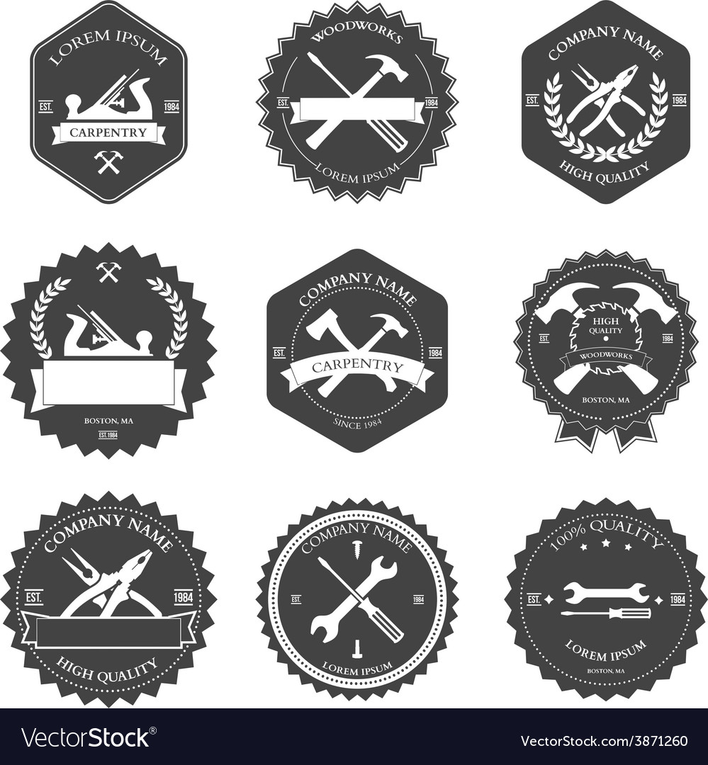 Vintage carpentry tools labels and design vector