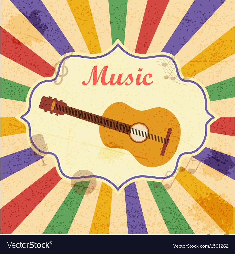 Retro music background with guitar vector