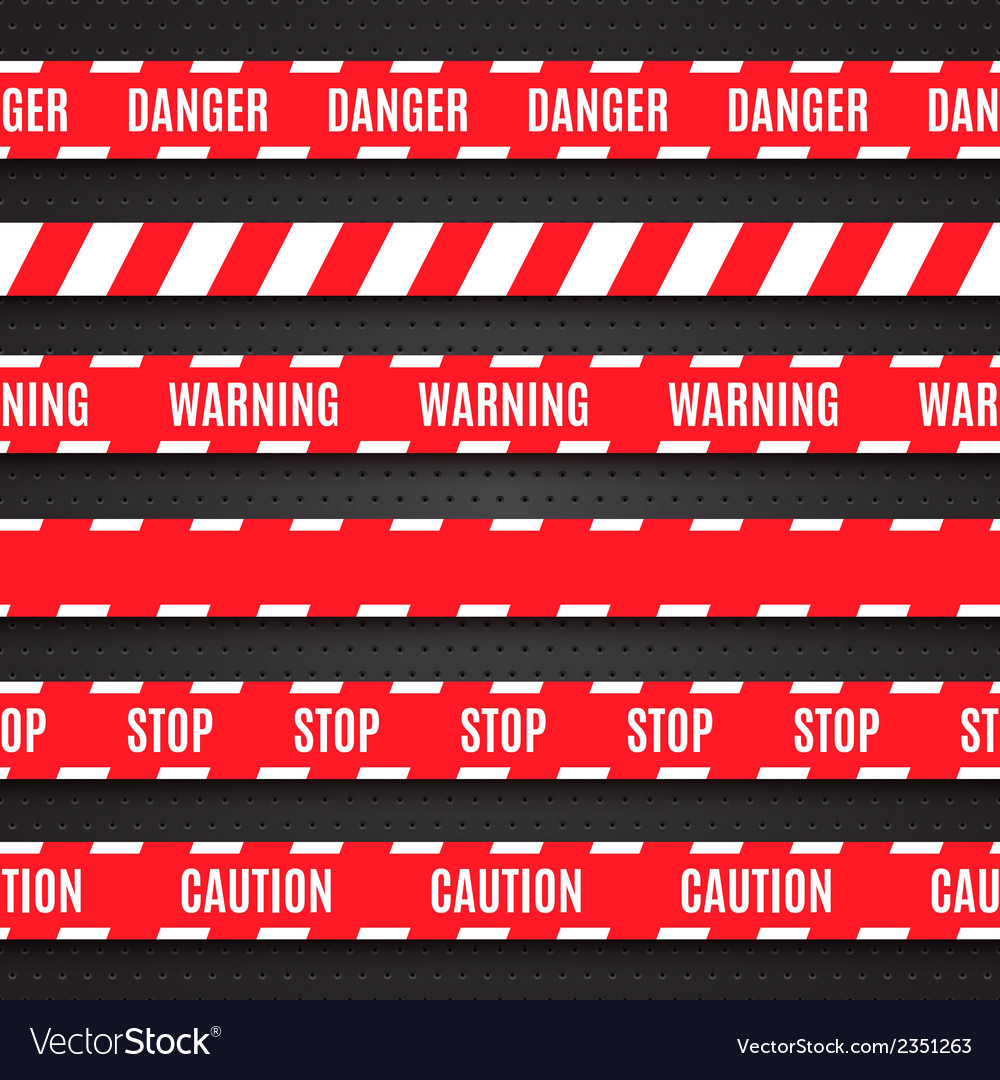 Set of red warning tapes on dark background vector