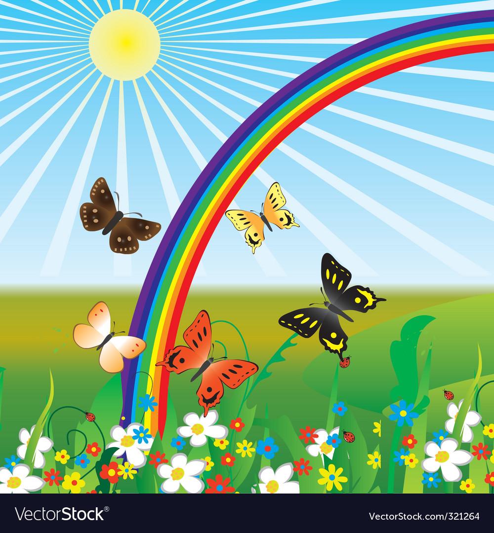 Rainbow and butterflies vector