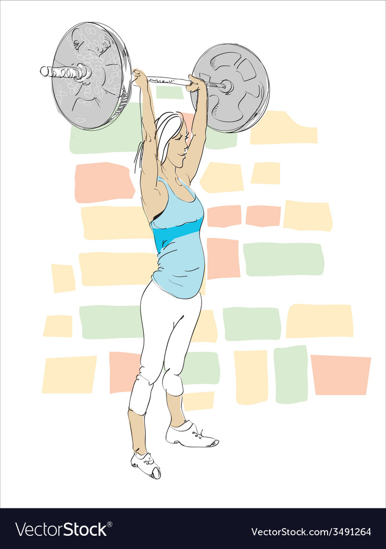 Young woman in gym vector