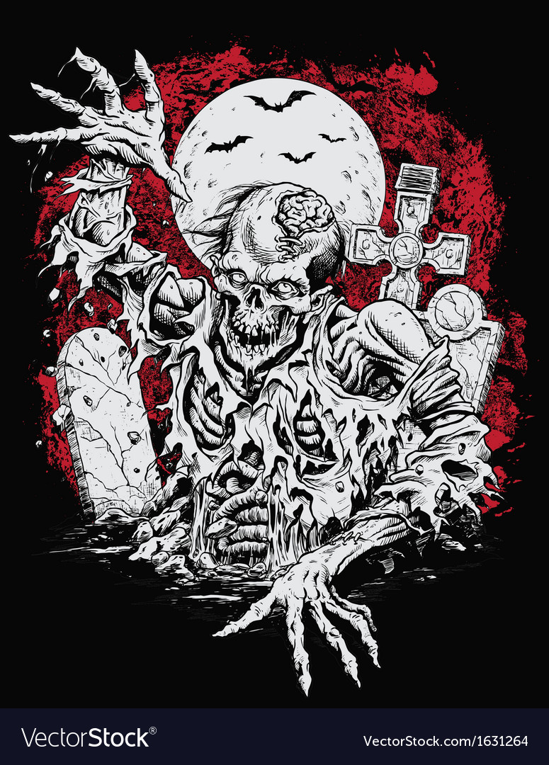 Zombie rising from grave vector