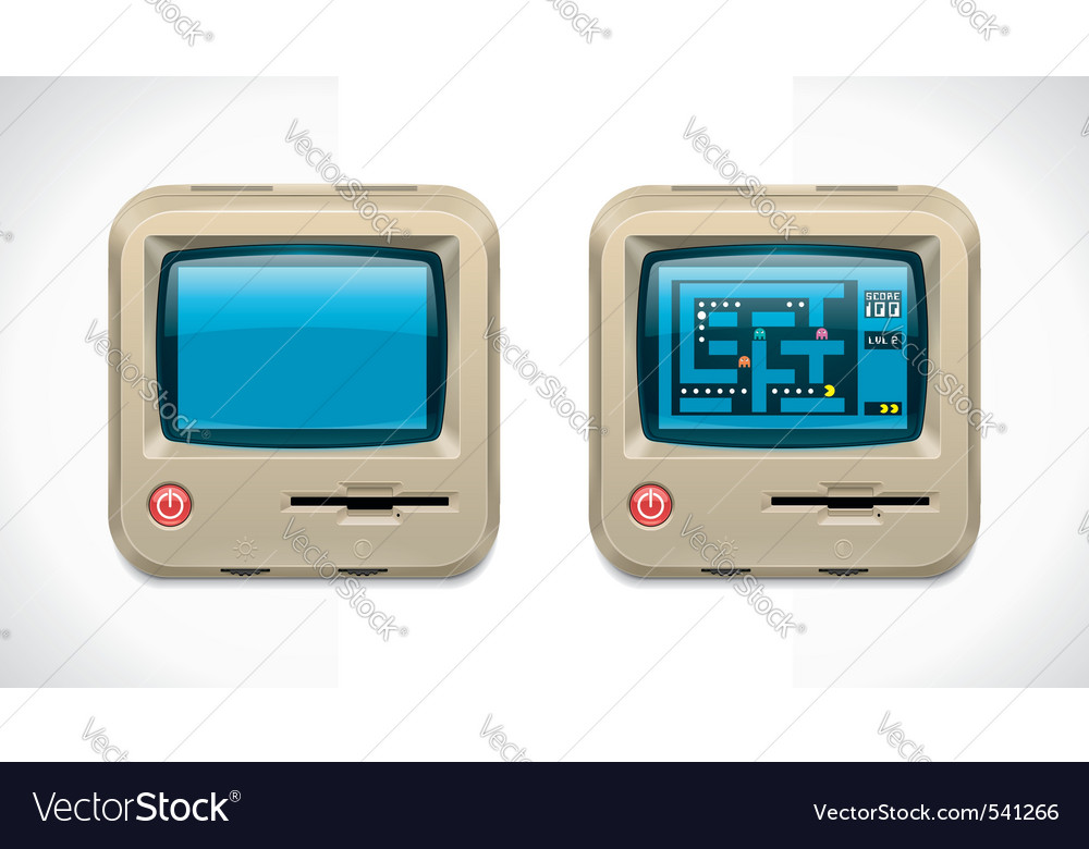 Retro computer square icon vector