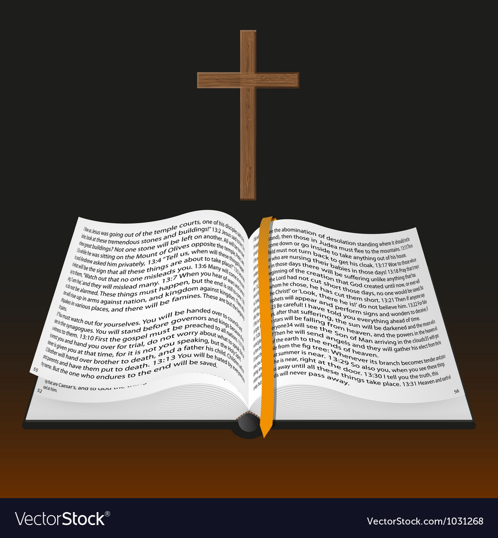 Bible with cross vector