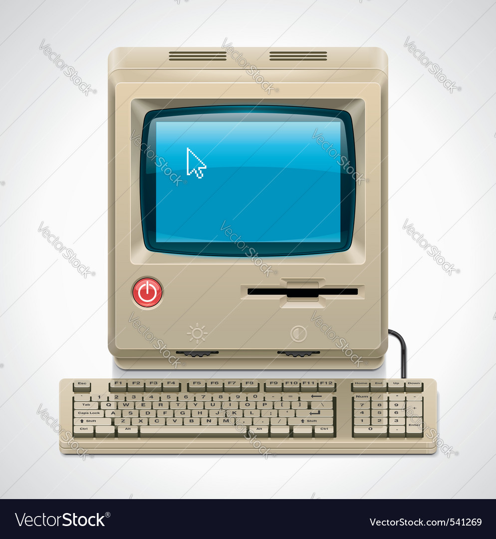 retro computer xxl icon vector
