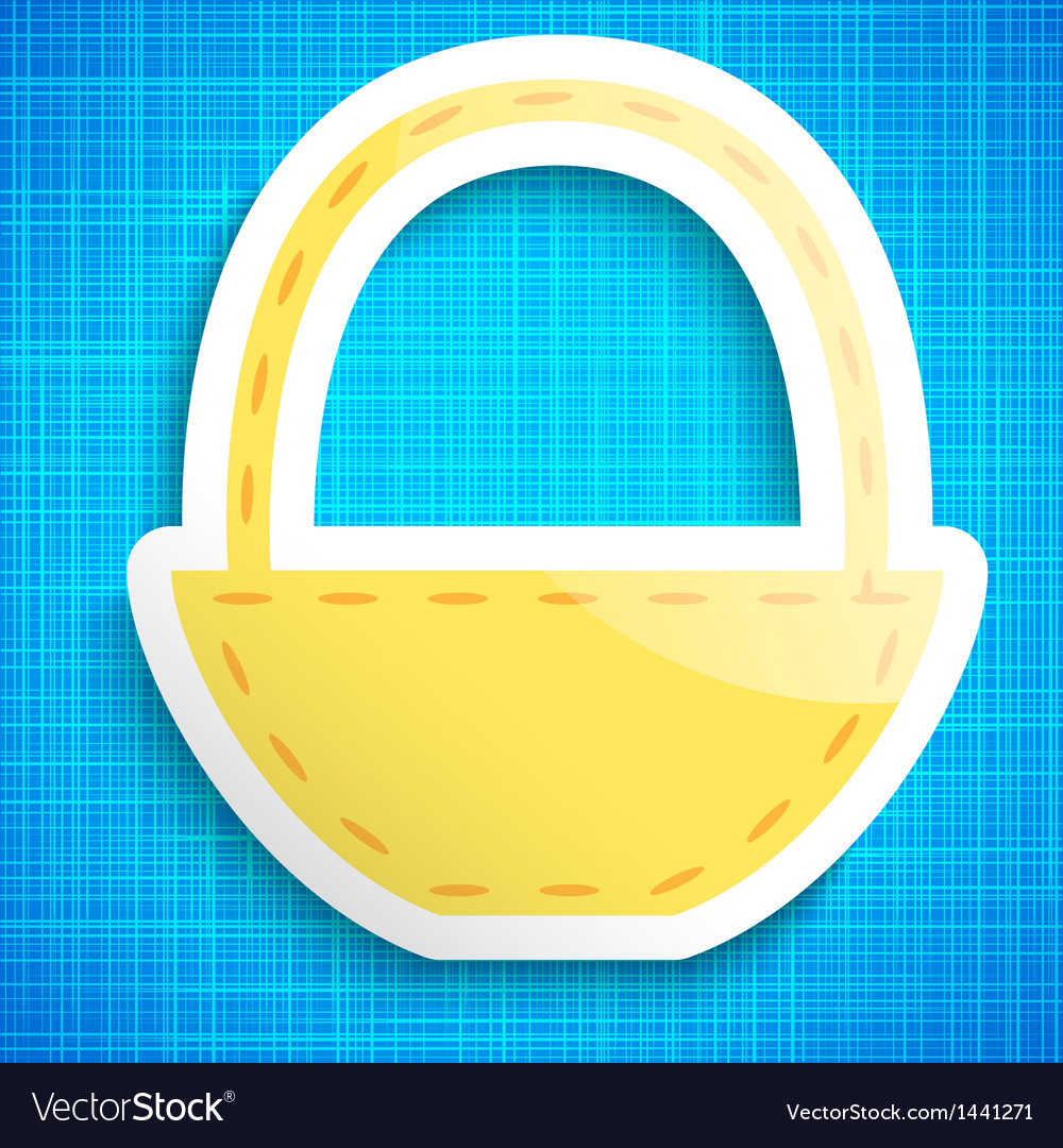 Empty picnic basket icon on blue cloth background vector
