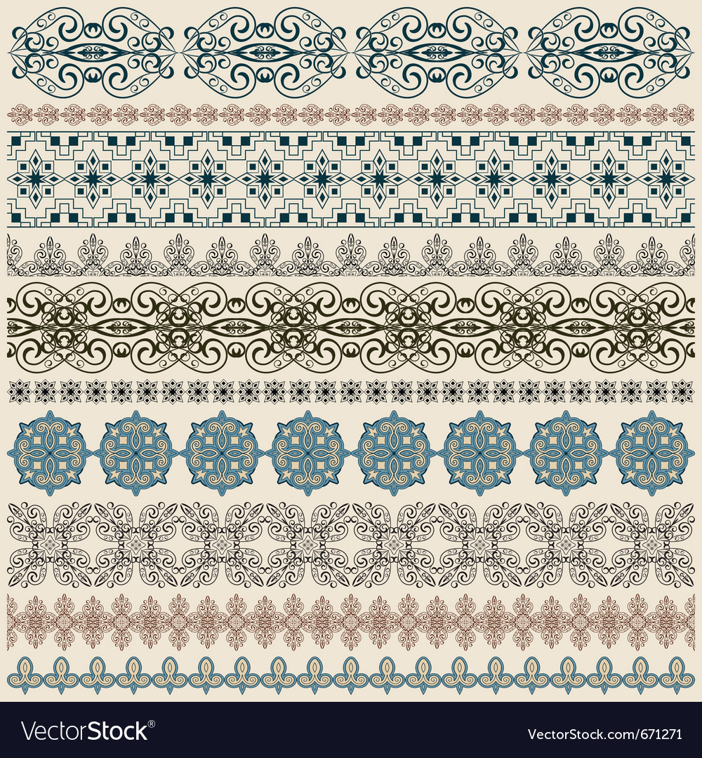 Seamless vintage border patterns vector