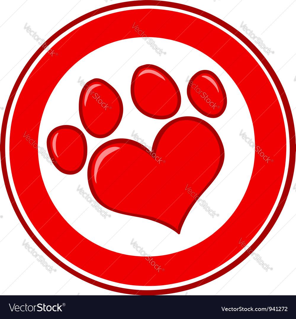 Love paw print banner vector