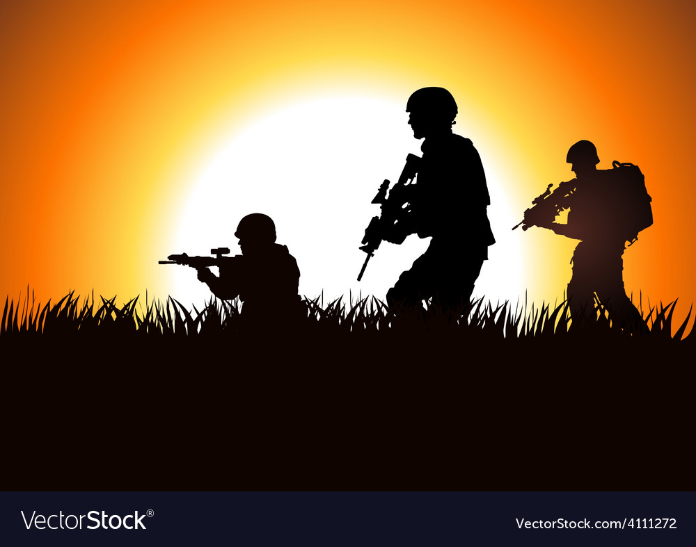 Soldier on field vector