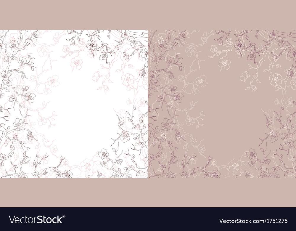 Hand drawn flowering tree card vector