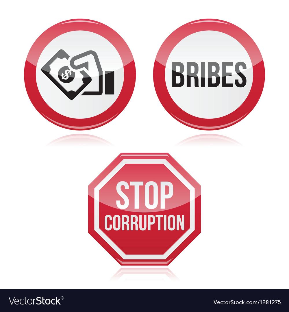 No bribes sto corruption red warning sign vector