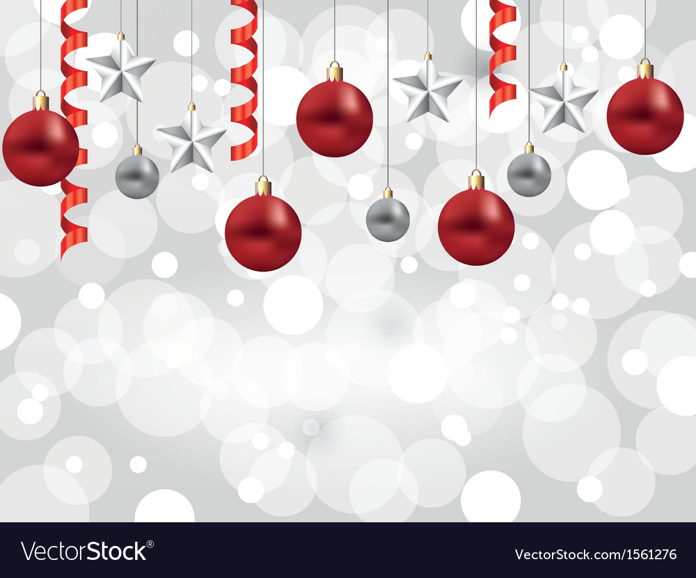 Christmas white background balls stars vector