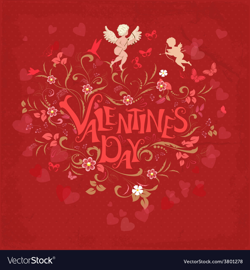 Red retro greeting card valentine day vector