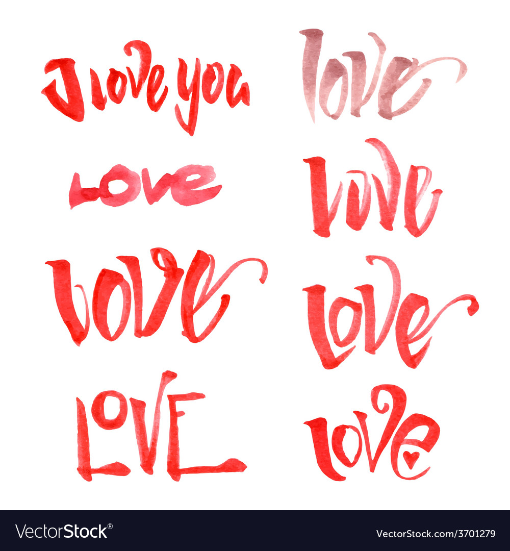 Watercolor love lettering set vector