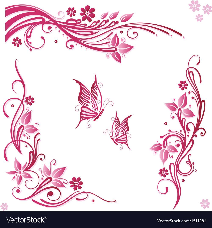Flowers butterflies pink vector
