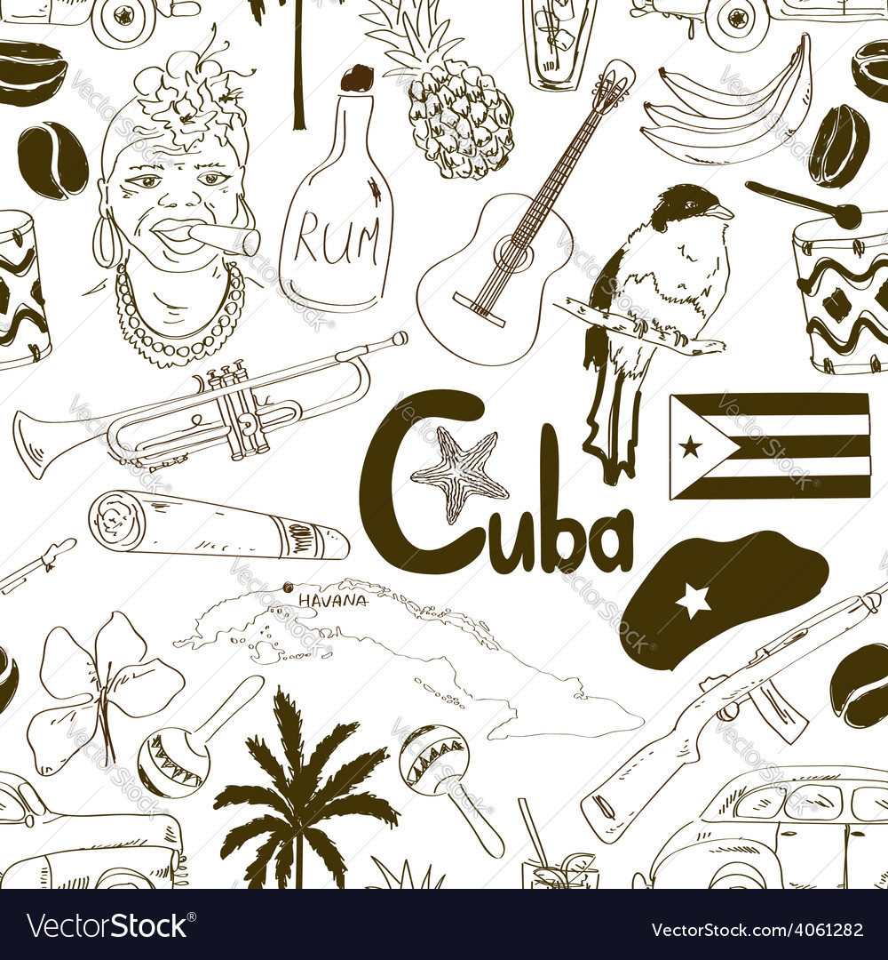 Sketch cuban seamless pattern vector