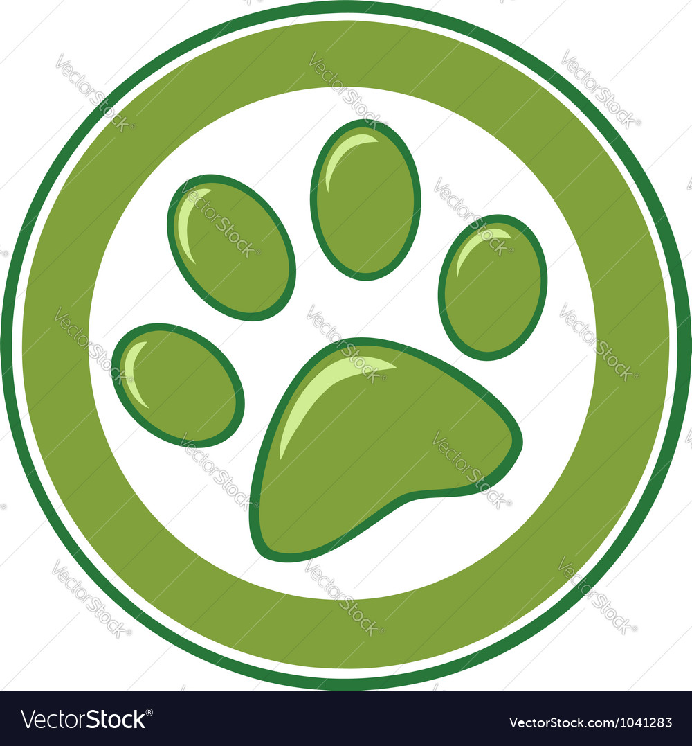Green paw print banner vector