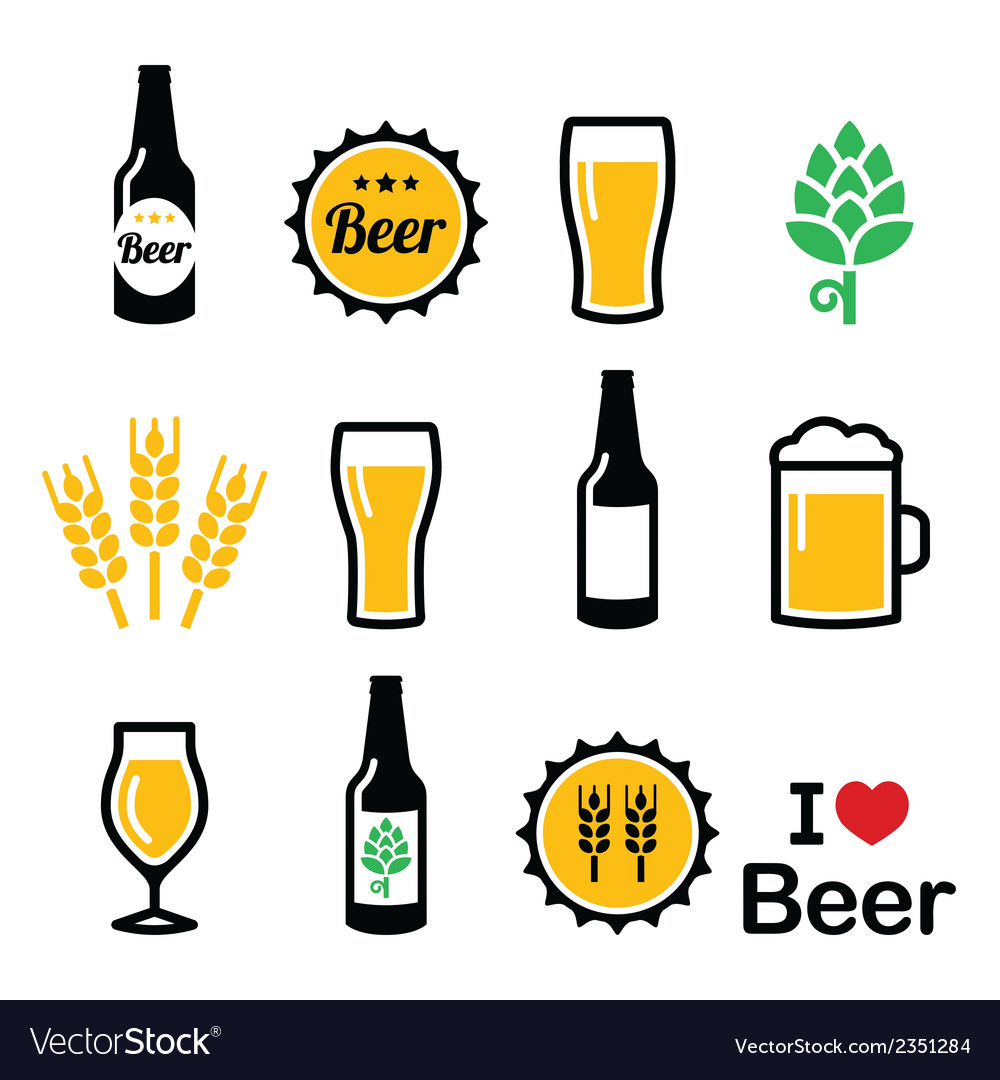 Beer colorful icons set - bottle glass vector