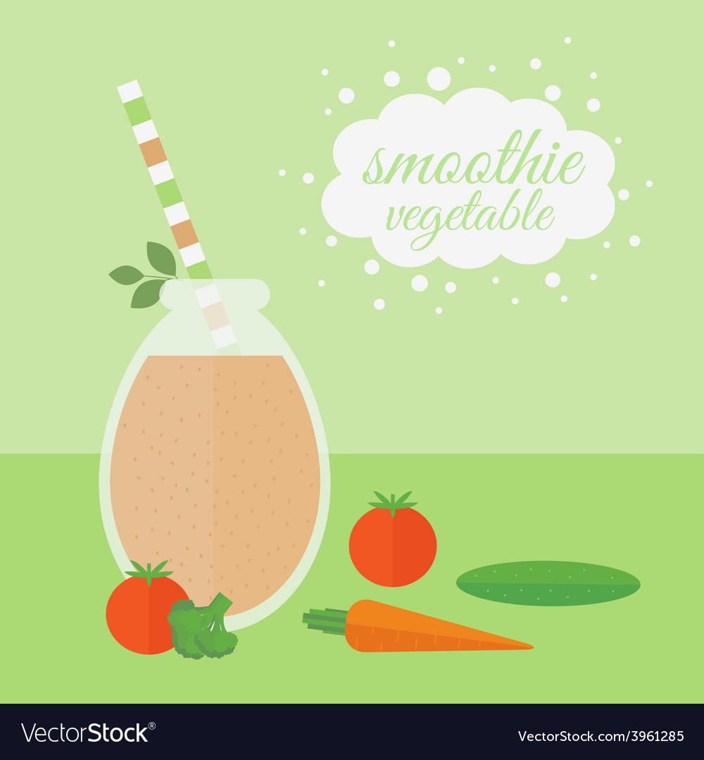 Vegetable smoothie in jar on a table vector