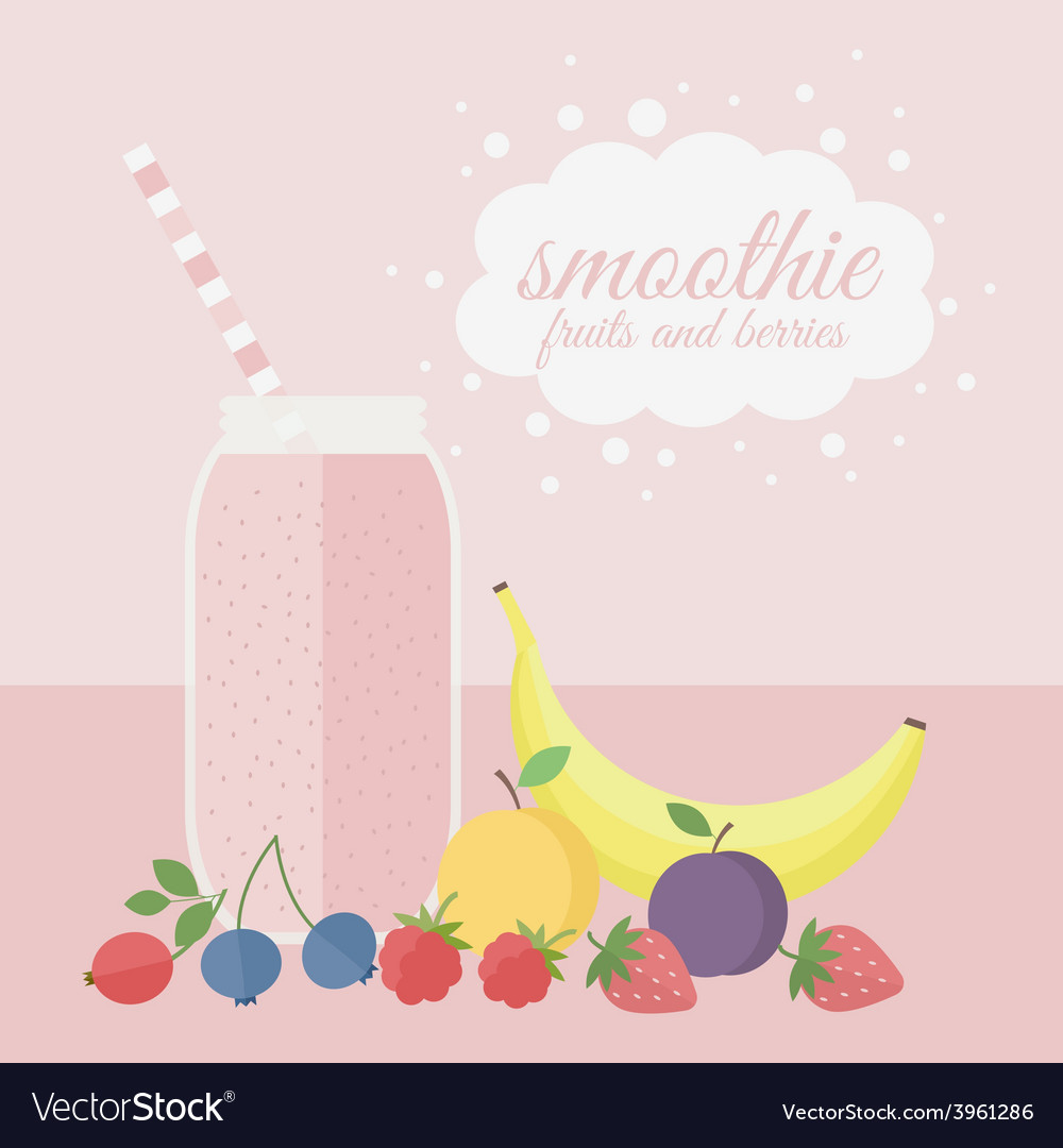 Fruit and berry smoothie in jar on a table vector