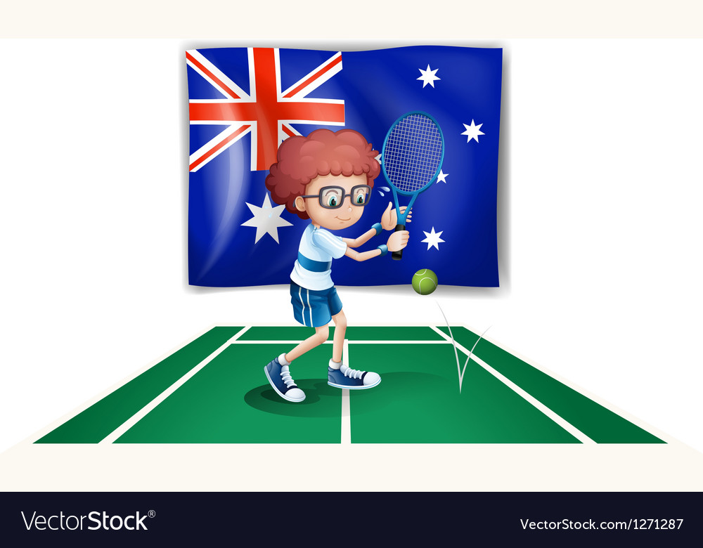 An australian flag at the back of a tennis player vector