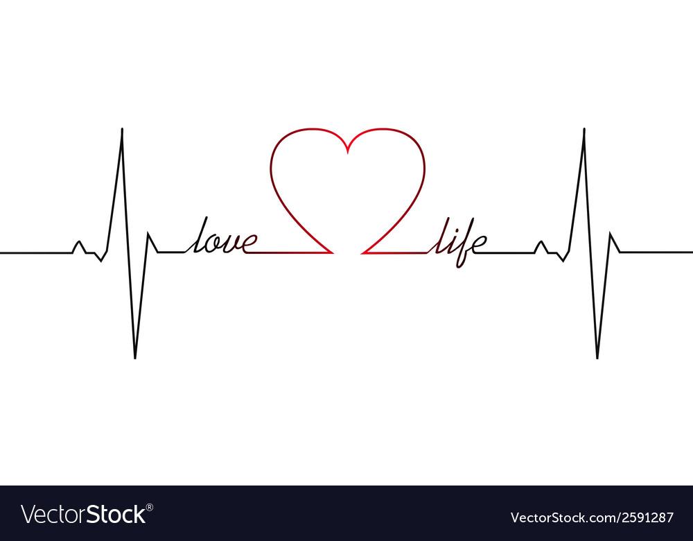 Love life heart beat vector