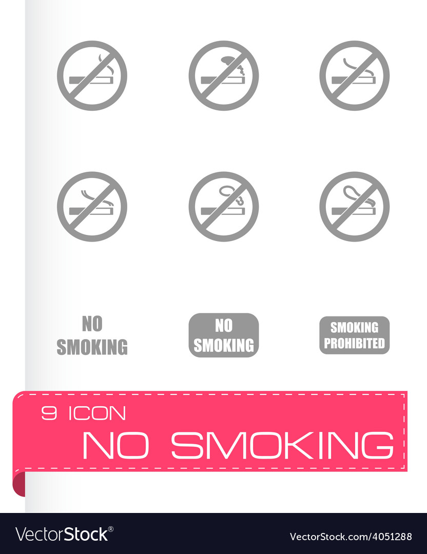 No smoking icon set vector