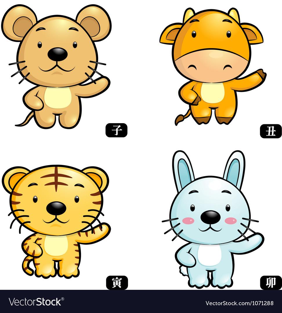 Zodiac rat and cow tiger and rabbit mascot vector
