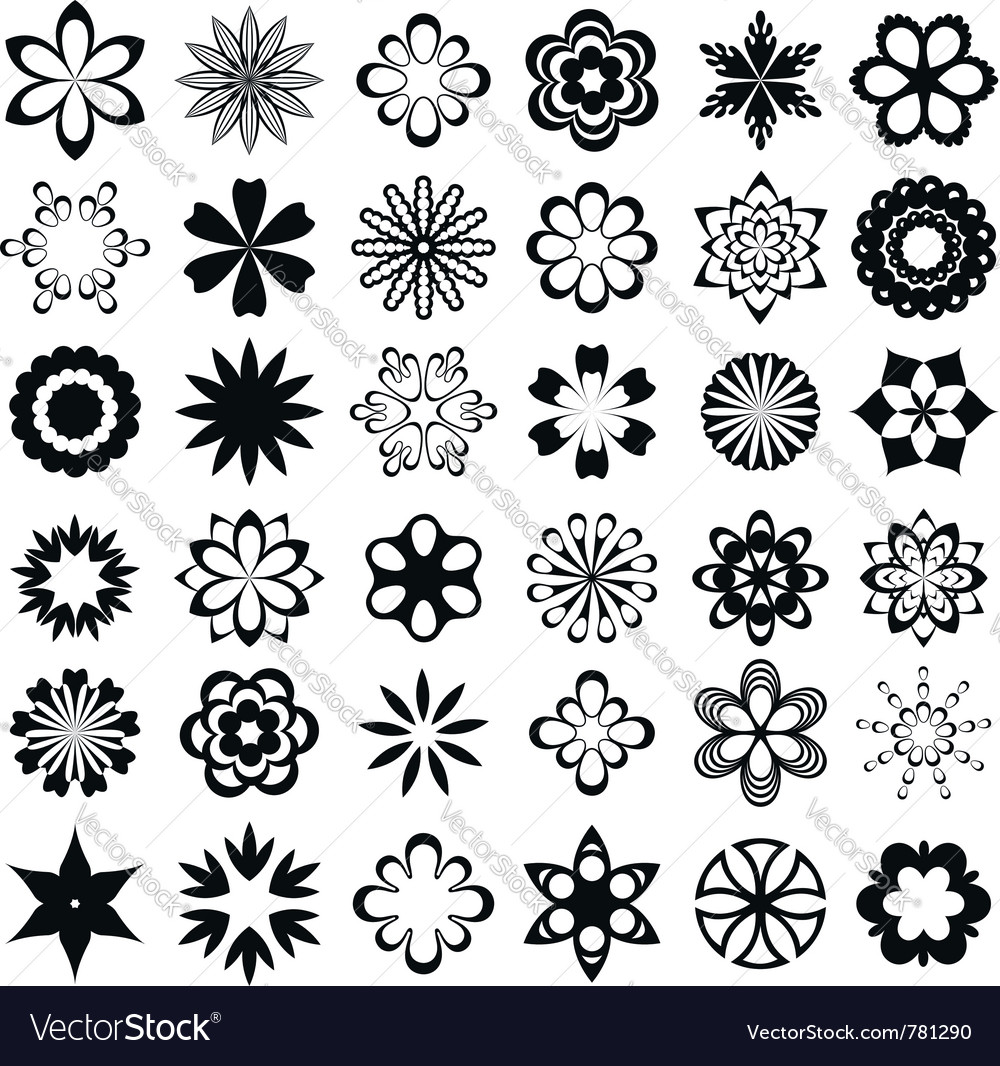 Set of graphic flowers vector