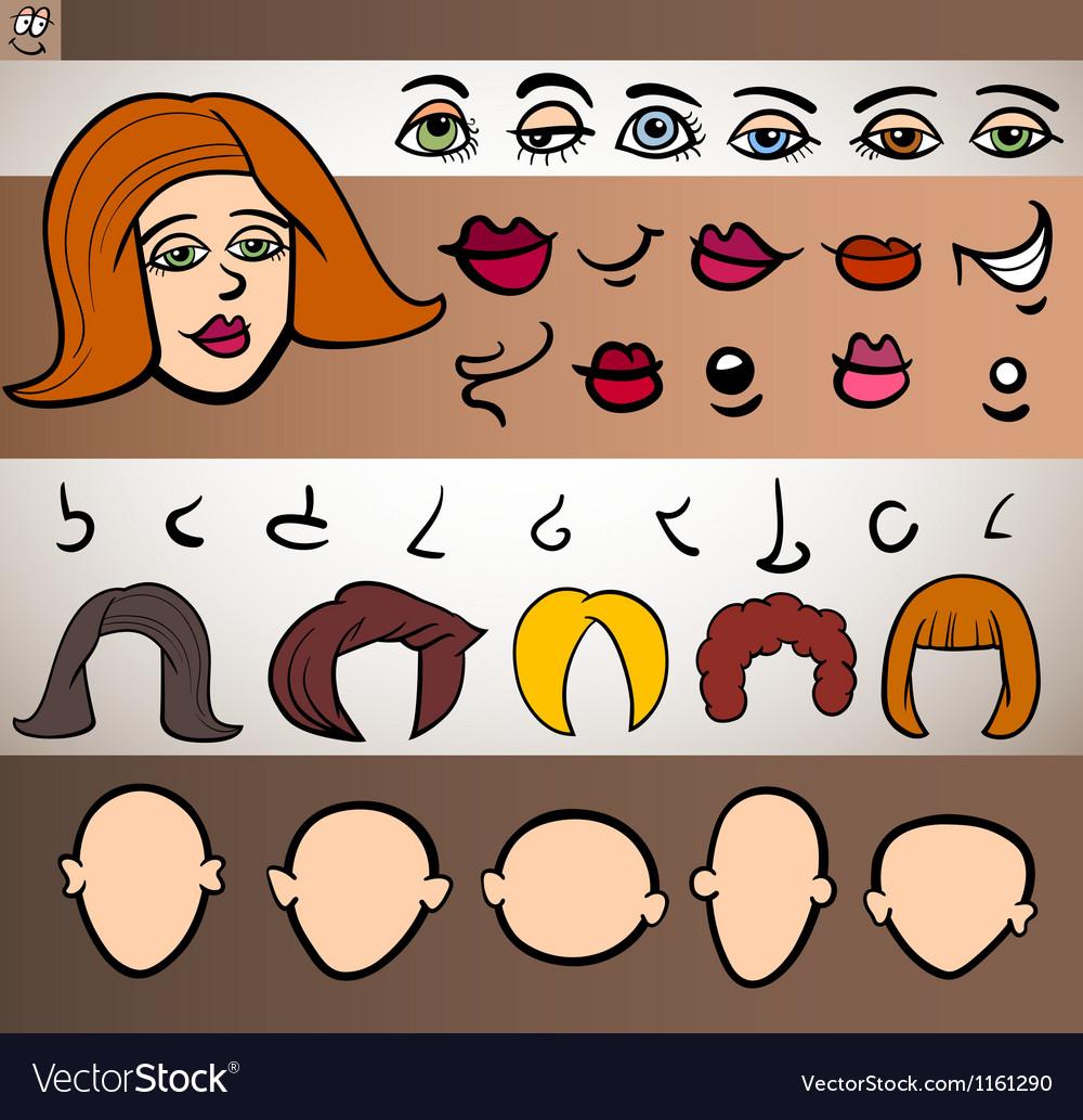 Woman face elements set cartoon vector