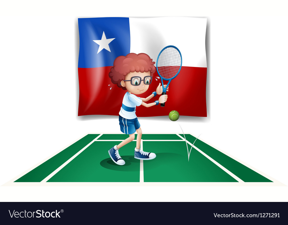 The flag of chile at the back of a tennis player vector