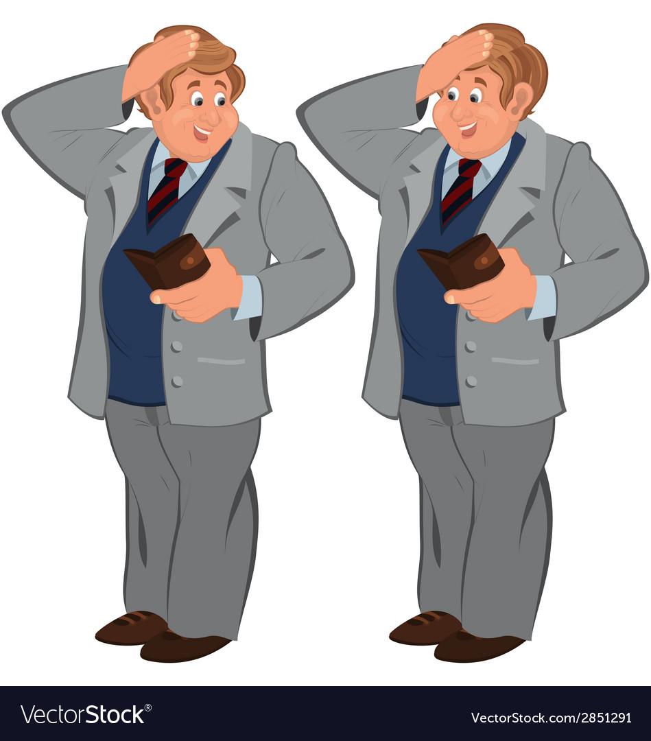 Happy cartoon man standing in gray suite with vector