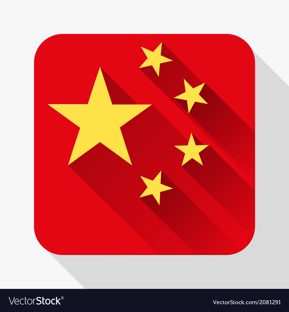 Simple flat icon china flag vector