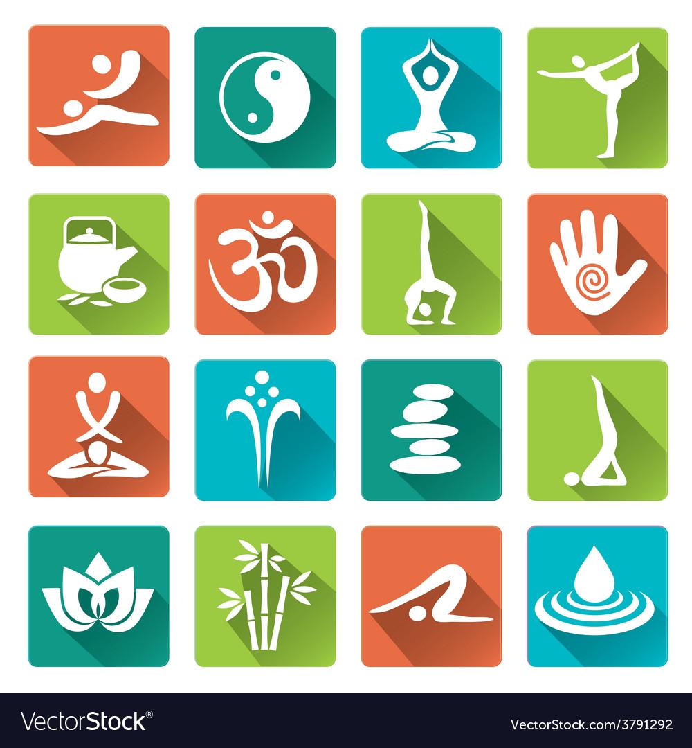 Spa yoga icons long shadows vector