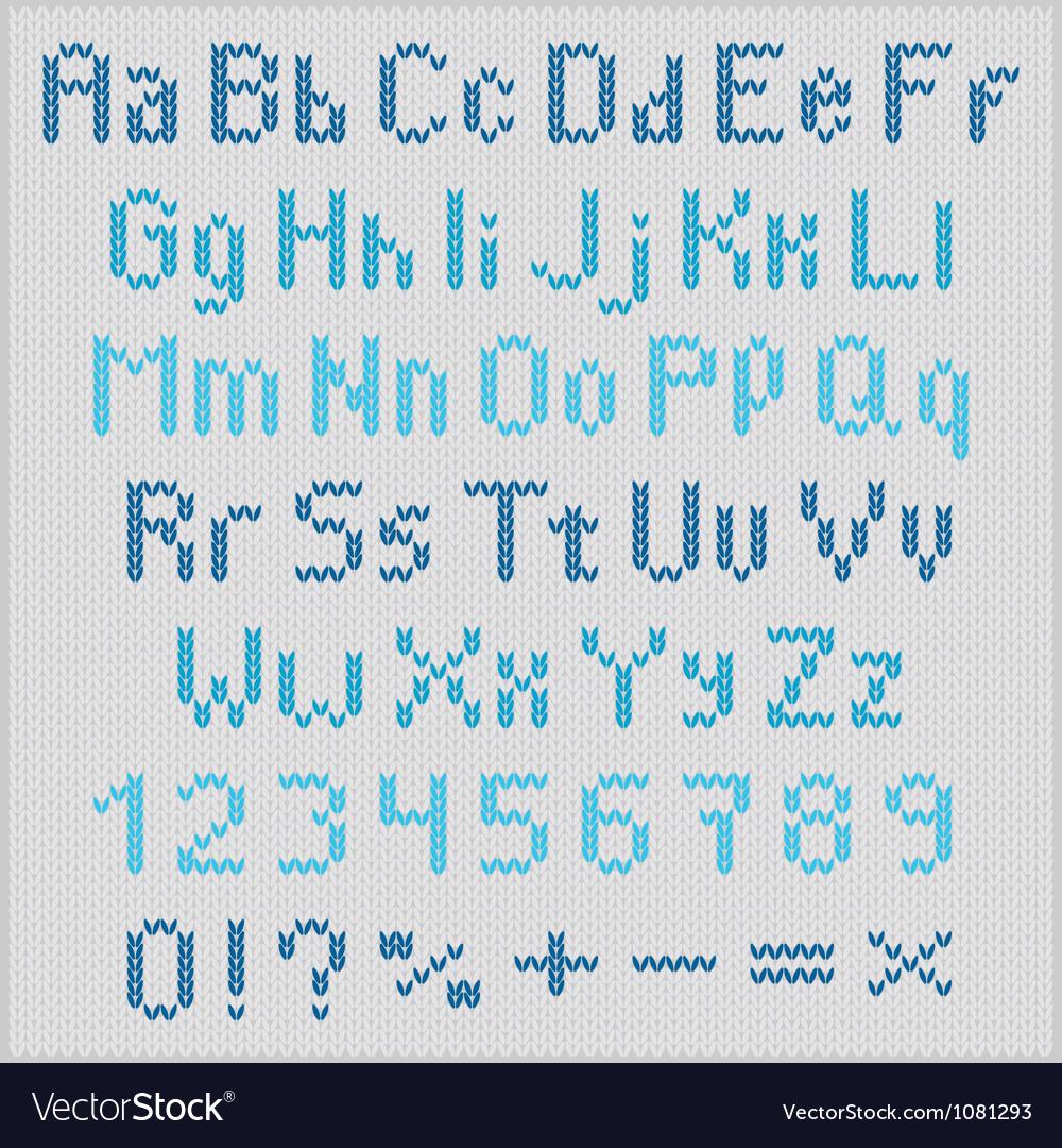 Knitted alphabet vector
