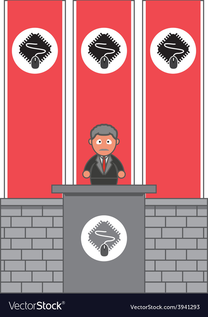 President from computer party vector