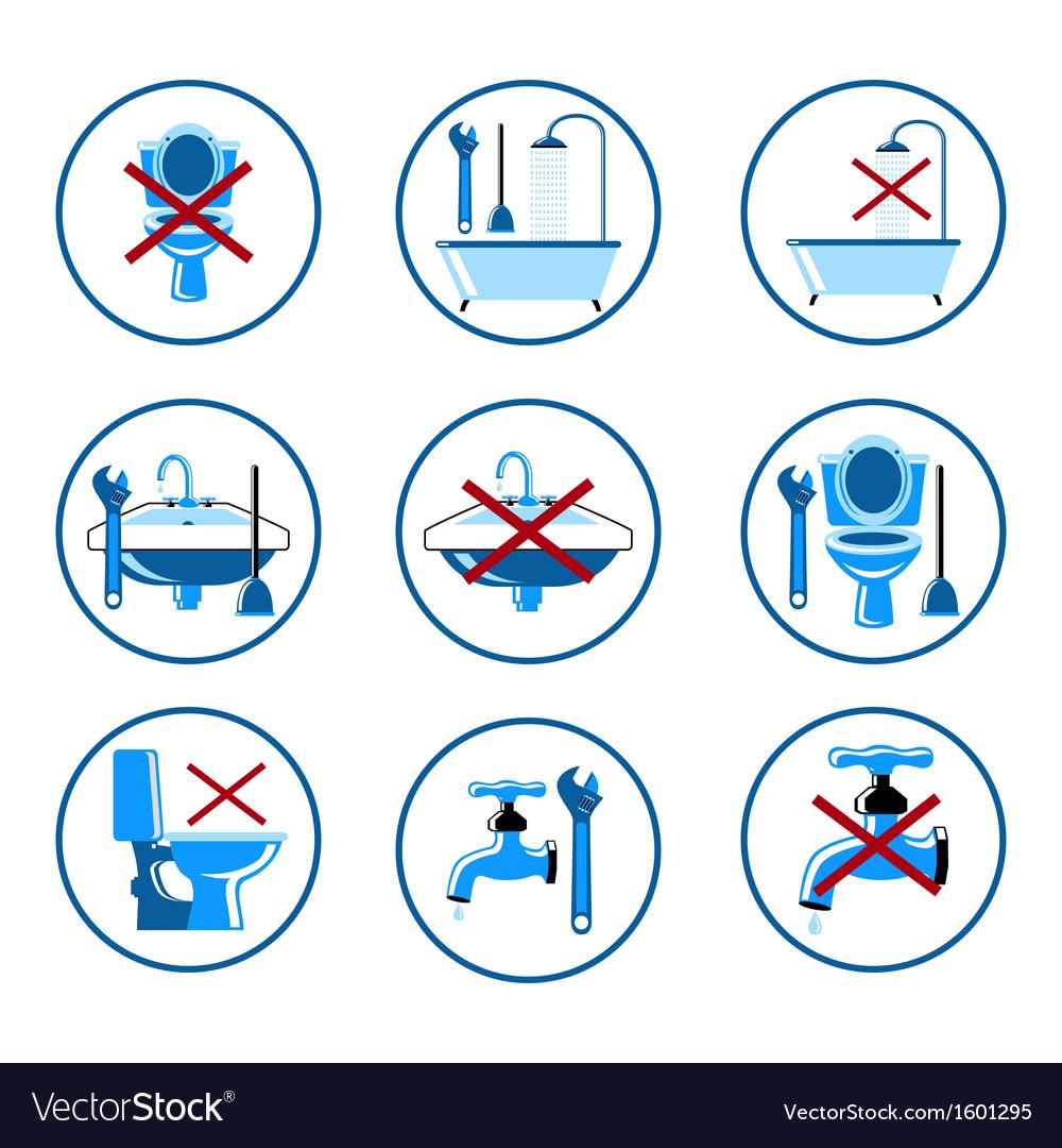 Plumbing icons set 2 vector