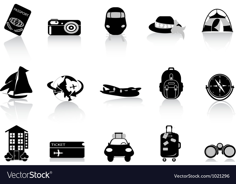 Transportation and travel icons on white vector