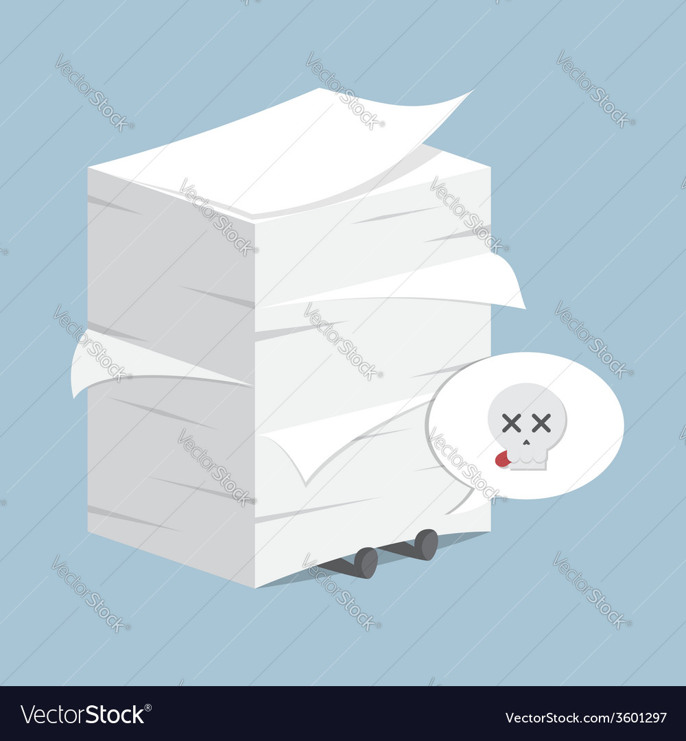 Businessman under the stack of paper vector