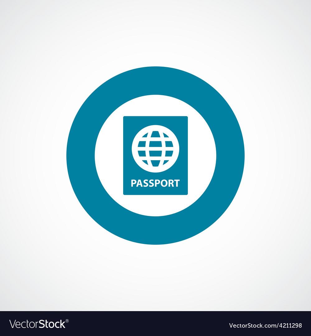 Passport icon bold blue circle border vector