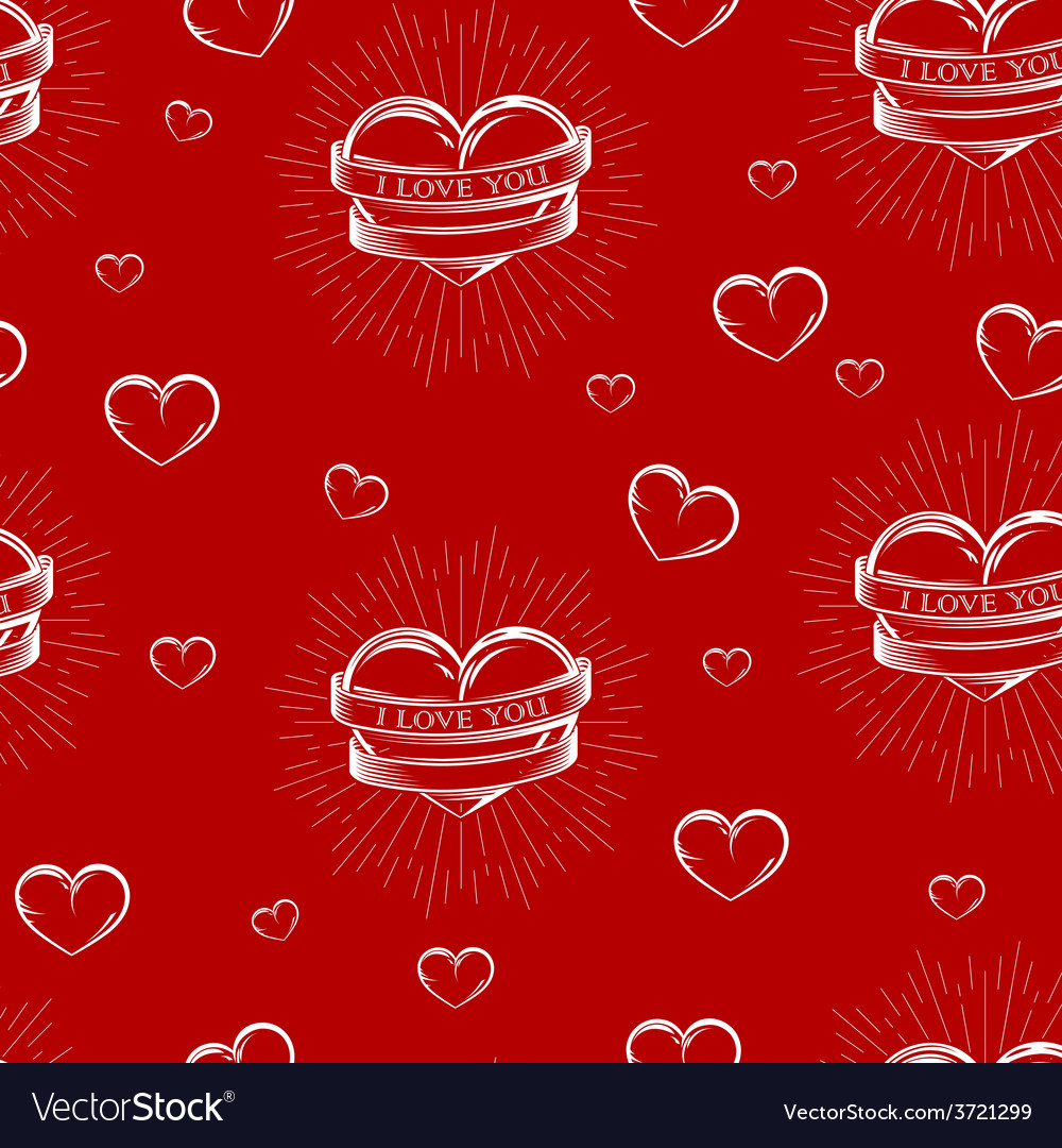 Seamless pattern with engraving hearts vector