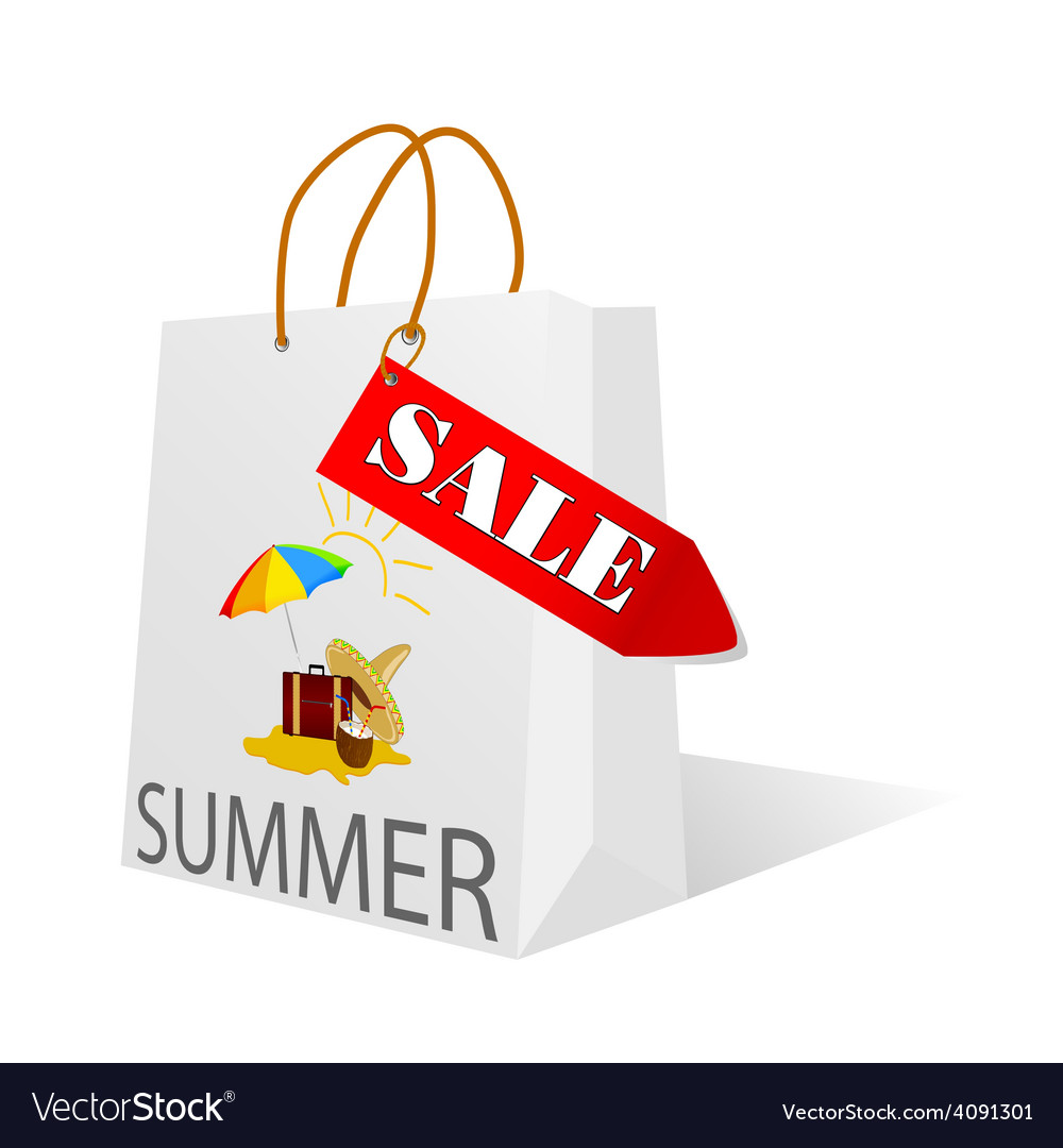 Paper bag with summer sale vector
