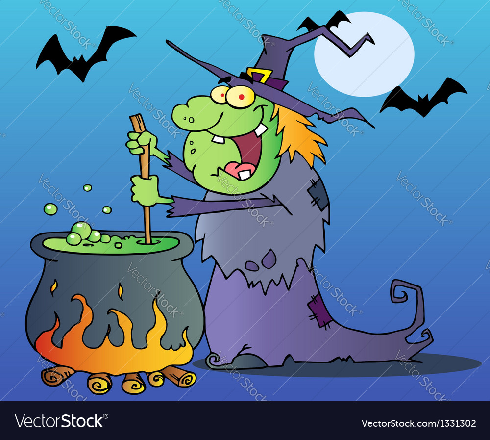 Ugly witch preparing a potion vector