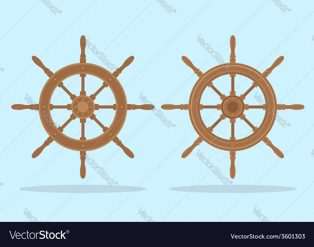 Marine helm two styles of steering wheel isolated vector