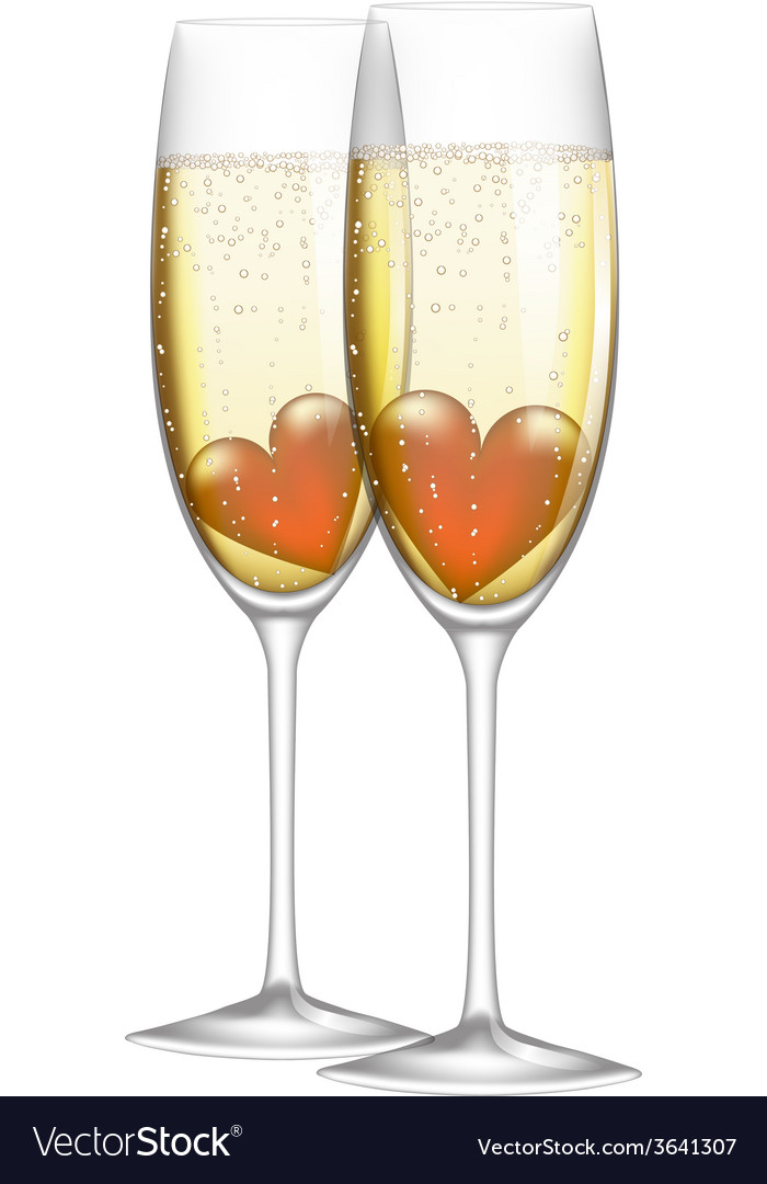 Glass of champagne with heart vector