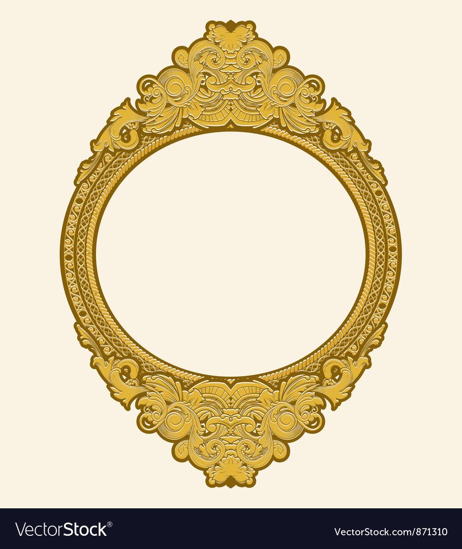Engraved gold floral frame vector