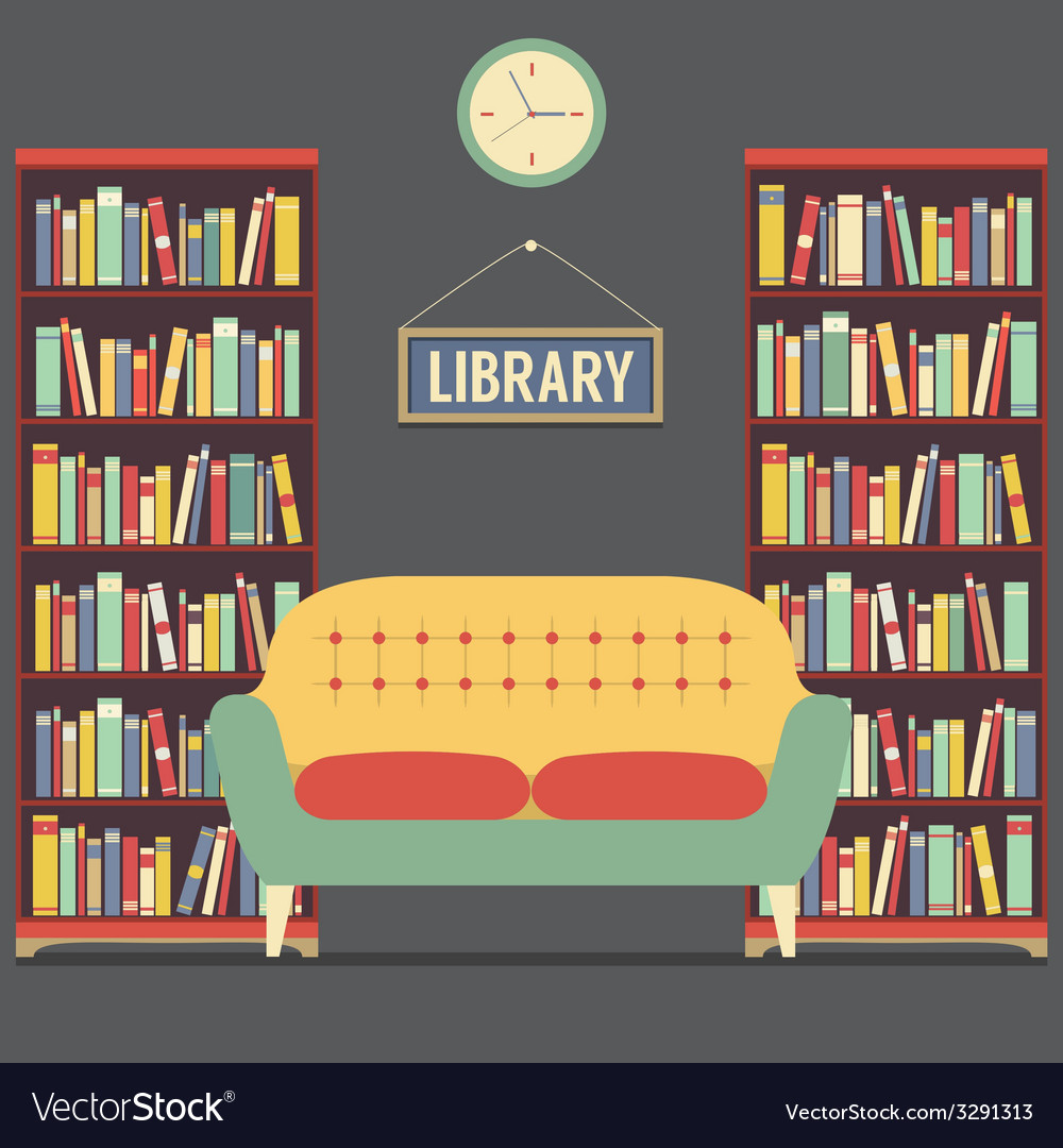 Empty reading seat in library vector
