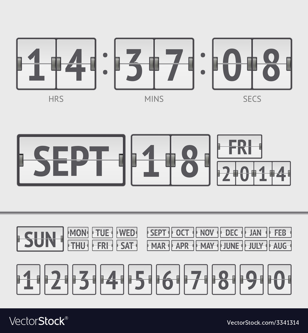 Analog black scoreboard digital week timer vector