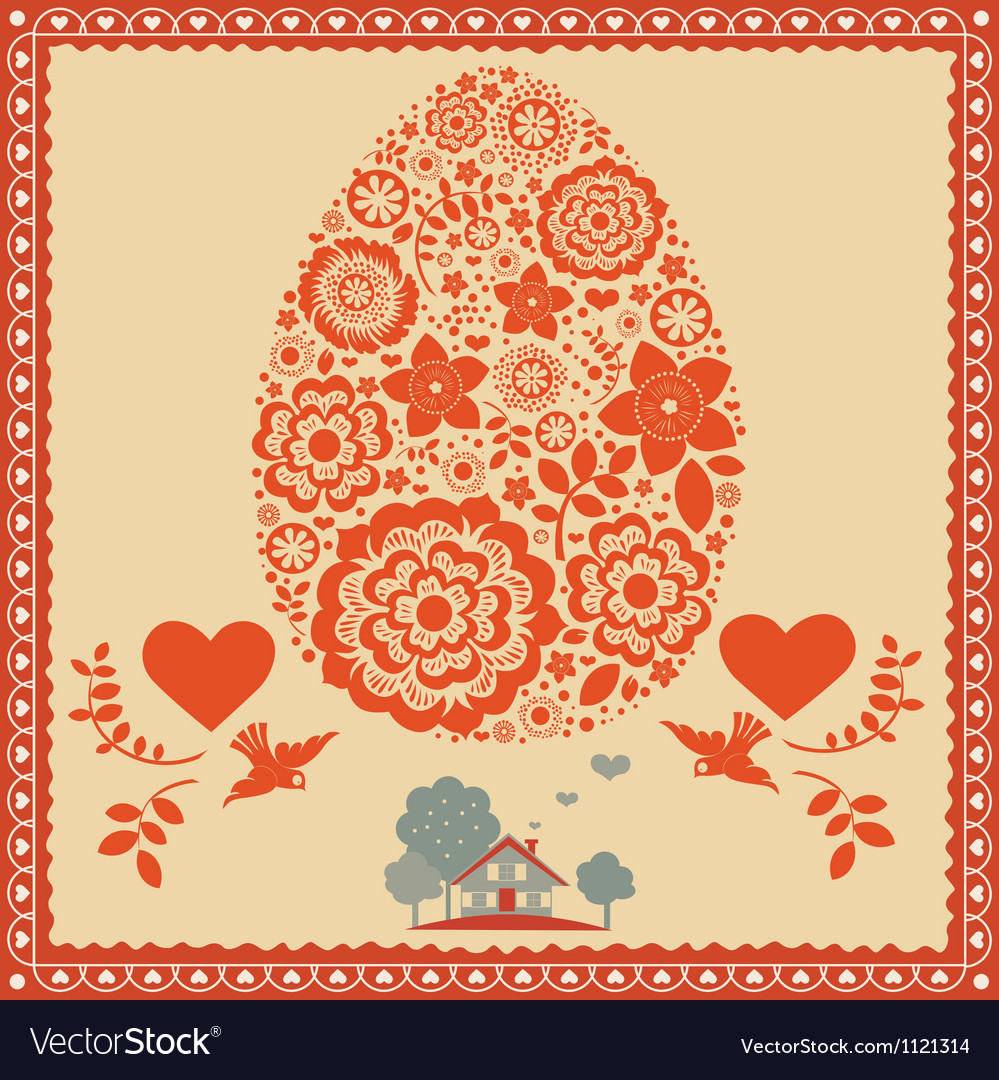Floral ornamental easter egg -poster vector
