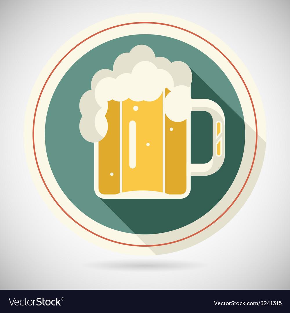 Beer mug with foam retro symbol alcohol icon long vector